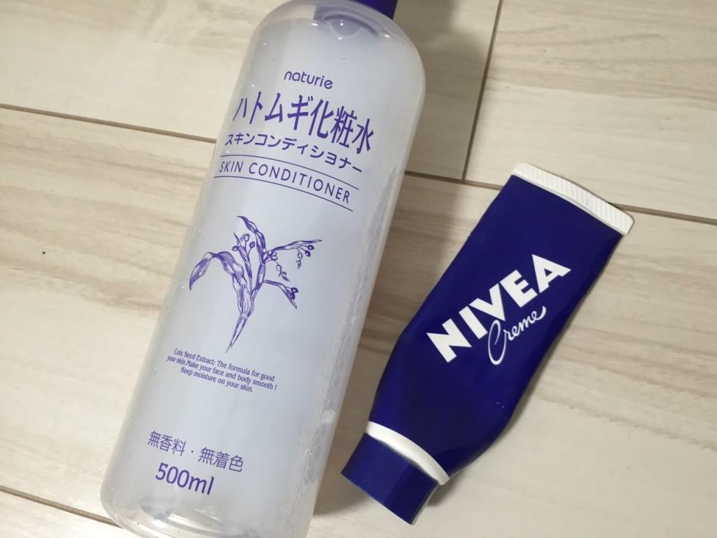 ハトムギ化粧水とニベア