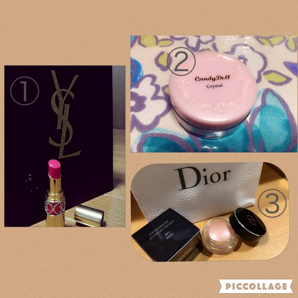 イヴ・サンローランの口紅、キャンディドールのフェイスパウダークリスタル、Diorフュージョン モノ841 ロゼ(アイシャドウ)
