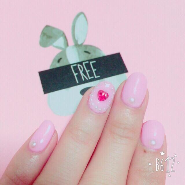 ピンク×パール×ハートネイル